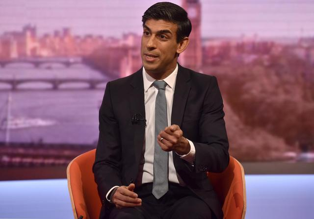 The Conservatives' Chief Secretary to the Treasury Rishi Sunak appears on BBC TV's The Andrew Marr Show in London, Britain December 15, 2019. Jeff Overs/BBC/Handout via REUTERS