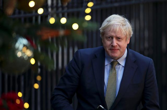 Britain's Prime Minister Boris Johnson is pictured after delivering a statement at Downing Street after winning the general election, in London, Britain, December 13, 2019. REUTERS/Lisi Niesner