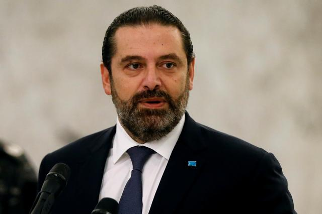 FILE PHOTO: Lebanon's caretaker Prime Minister Saad al-Hariri speaks after meeting with President Michel Aoun at the presidential palace in Baabda, Lebanon November 7, 2019. REUTERS/Mohamed Azakir/File Photo
