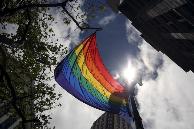 FILE PHOTO: A rainbow flag flies above Market Street during the gay pride parade in San Francisco, California June 28, 2015. REUTERS/Elijah Nouvelage