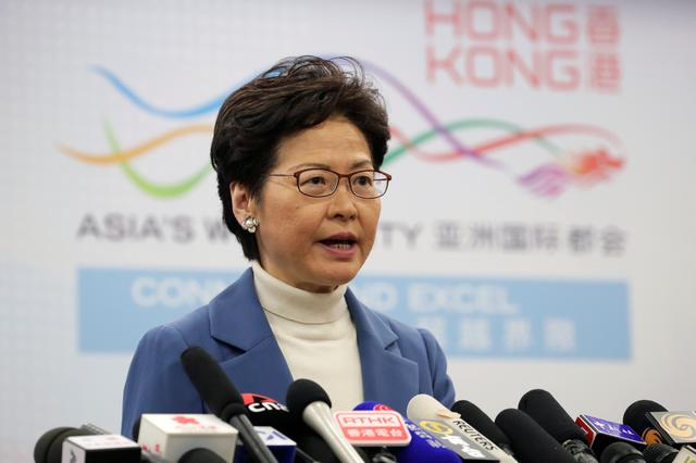 Hong Kong Chief Executive Carrie Lam speaks at a news conference at the Hong Kong Special Administrative Region (HKSAR) Government office in Beijing, China  December 16, 2019. REUTERS/Jason Lee