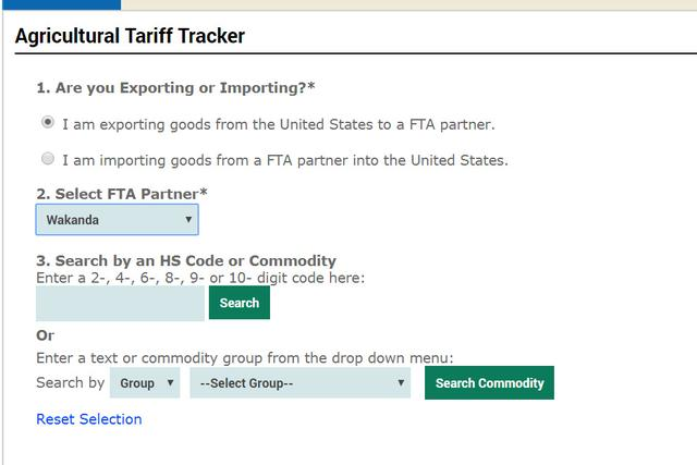 """Wakanda"", a fictional country from the movie ""Black Panther"", is seen as an option of a free trade partner with the U.S., in this screenshot obtained from the USDA website on December 19, 2019. USDA /via REUTERS"