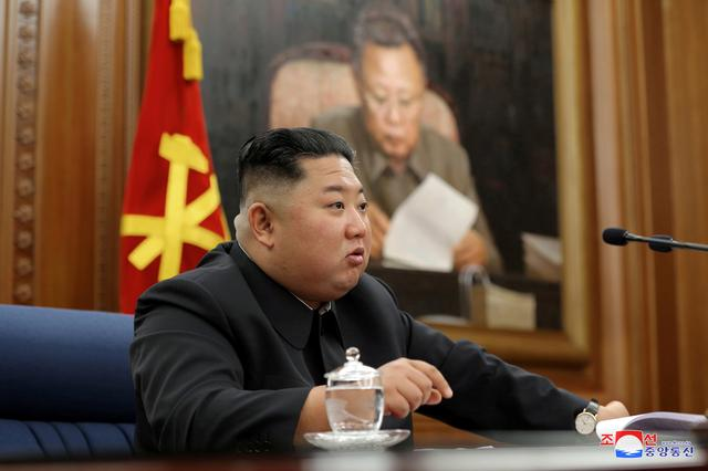 North Korean leader Kim Jong Un speaks during the Third Enlarged Meeting of the Seventh Central Military Commission (CMC) of the Workers' Party of Korea (WPK) in this undated photo released on December 22, 2019 by North Korea's Korean Central News Agency (KCNA).    KCNA via REUTERS