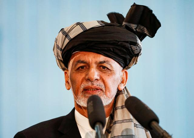 FILE PHOTO: Afghan presidential candidate Ashraf Ghani speaks after casting his vote in the presidential election in Kabul, Afghanistan September 28, 2019. REUTERS/Mohammad Ismail