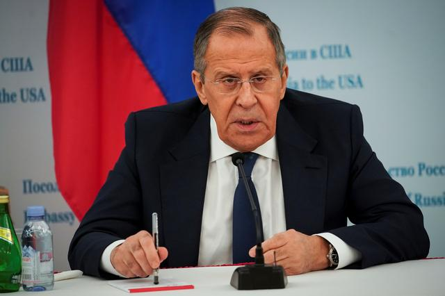 FILE PHOTO: Russian Foreign Minister Sergei Lavrov speaks during a news conference at the Russian Embassy in Washington, U.S., December 10, 2019. REUTERS/Al Drago/File Photo