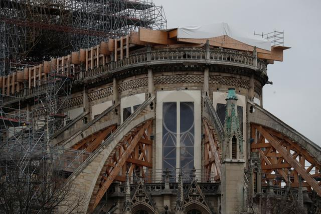 General view shows the Notre Dame Cathedral, as works continue to stabilise the cathedral's structure nine months after a fire caused significant damage, in Paris, France, December 23, 2019. REUTERS/Gonzalo Fuentes
