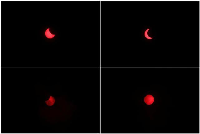 A combination of photos depicts a partial annular solar eclipse observed with the use of a solar filter in Siak, Riau province, Indonesia, December 26, 2019. REUTERS/Willy Kurniawan