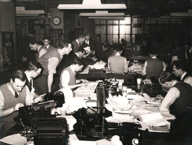 A file photo from the Reuters archive shows journalists in the Reuters Newsroom at 85 Fleet Street, London, during the British General Election of 1950.   REUTERS