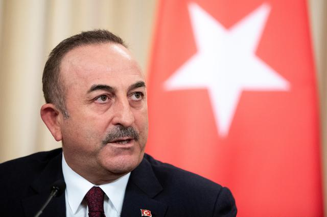 Turkish Foreign Minister Mevlut Cavusoglu speaks during a joint news conference following talks with Russian Foreign Minister Sergei Lavrov in Moscow, Russia January 13, 2020. Pavel Golovkin/Pool via REUTERS