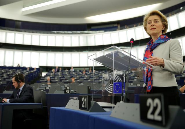 European Commission President Ursula von der Leyen addresses the European Parliament in Strasbourg, France, January 14, 2020. REUTERS/Vincent Kessler
