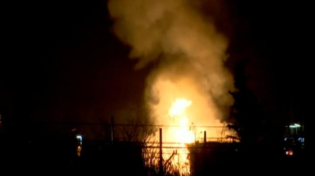 Fire breaks out following an explosion at a chemical factory in Tarragona, Catalonia, Spain January 14, 2020 in this screen grab taken from a video. Forta/Reuters TV via REUTERS