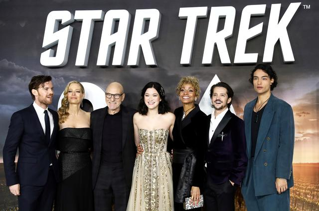 "Actor Patrick Stewart and other cast members pose during the premiere of ""Star Trek: Picard"" in London, Britain January 15, 2020. REUTERS/Simon Dawson"