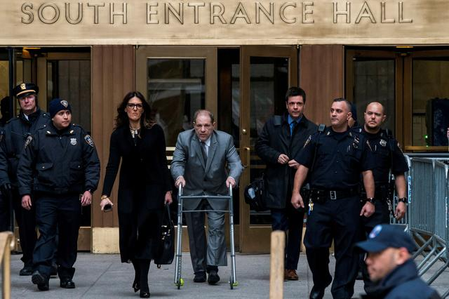 FILE PHOTO: Harvey Weinstein exits the New York Criminal Court after his sexual assault trial in Manhattan, New York, January 7. REUTERS/Eduardo Munoz