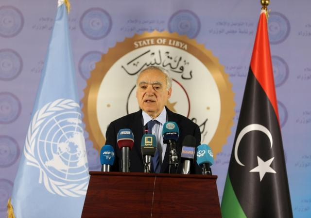 FILE PHOTO: The U.N. Envoy for Libya, Ghassan Salame, speaks during a news conference in Tripoli, Libya April 6, 2019. REUTERS/Hani Amara/File Photo