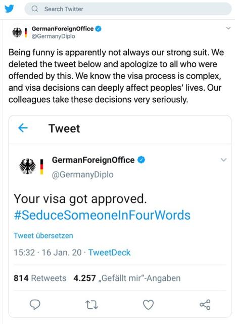 A tweet from the German Foreign Ministry's Twitter account posted on January 16, 2020 that the Ministry was forced to backtrack after complaints that their attempted joke was in poor taste is seen on a computer screen. @GermanyDiplo/Twitter.com/via REUTERS