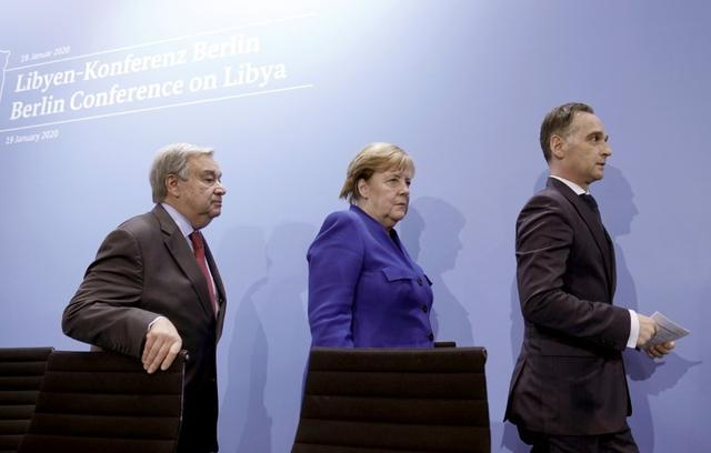 United Nations Secretary-General Antonio Guterres, Germany's Chancellor Angela Merkel and Germany's Foreign Minister Heiko Maas leave a news conference after the Libya summit in Berlin, Germany, January 19, 2020.  Michael Kappeler/Pool via Reuters