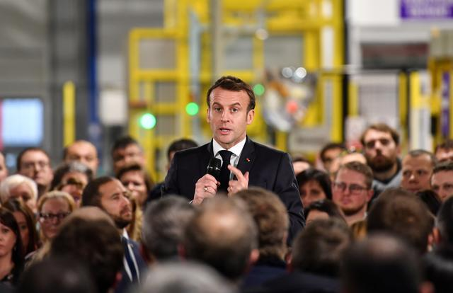 French President Emmanuel Macron speaks during a visit at the AstraZeneca factory in Dunkirk, France January 20, 2020. Denis Charlet/Pool via REUTERS