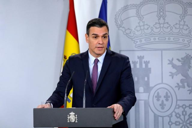 FILE PHOTO: Spain's Prime Minister Pedro Sanchez attends a news conference after the first cabinet meeting at the Moncloa Palace in Madrid, Spain, January 14, 2020. REUTERS/Jon Nazca