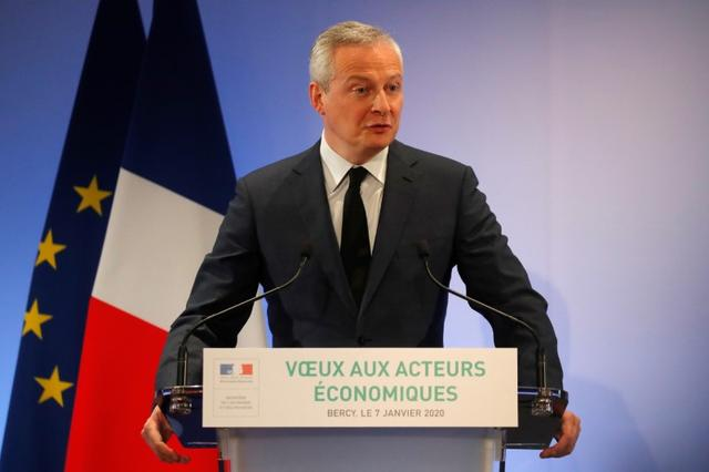 FILE PHOTO: French Finance Minister Bruno Le Maire speaks during his New Year address to France's economic actors and the press at the Bercy Finance Ministry in Paris, France, January 7, 2020. REUTERS/Charles Platiau