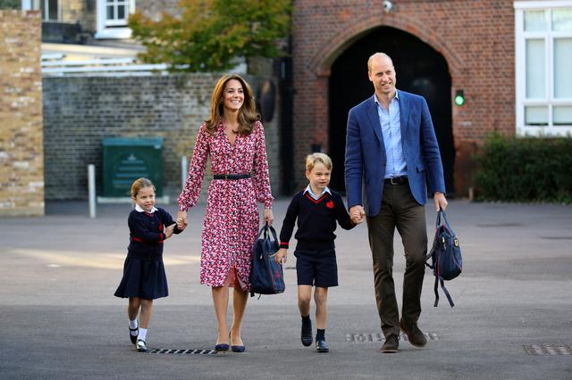 FILE PHOTO: Britain's Princess Charlotte arrives for her first day at school accompanied by her mother Catherine, Duchess of Cambridge, father Prince William, Duke of Cambridge, and brother Prince George, at Thomas's Battersea in London, Britain September 5, 2019. Aaron Chown/Pool via REUTERS