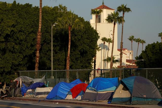 Tents and tarps are seen on the sidewalk of a freeway overpass home to hundreds of homeless living on the streets of Los Angeles, California, U.S., January 22, 2020.     REUTERS/Mike Blake