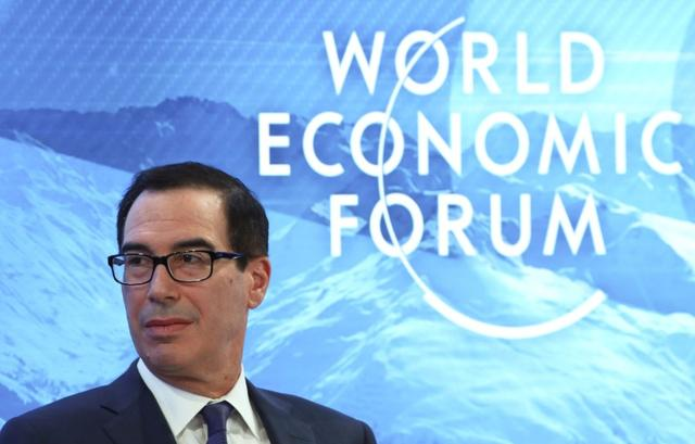 FILE PHOTO: U.S. Treasury Secretary Steven Mnuchin attends a session during the 50th World Economic Forum (WEF) annual meeting in Davos, Switzerland, January 22, 2020. REUTERS/Denis Balibouse