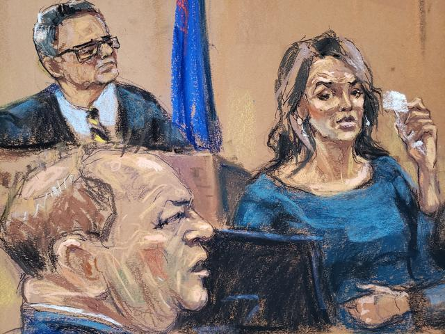 Actor Annabella Sciorra is questioned by prosecutor Joan Illuzzi-Orbon (not seen) on the stand in front of Judge James Burke as film producer Harvey Weinstein sits during his sexual assault trial at New York Criminal Court in the Manhattan borough of New York City, New York, U.S. January 23, 2020 in this courtroom sketch.  REUTERS/Jane Rosenberg   NO RESALES. NO ARCHIVES