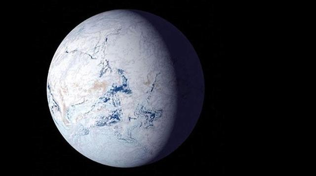 FILE PHOTO: An illustration shows glaciers covering the planet in ice in a so-called Òsnowball EarthÓ period billions of years ago. NASA/Handout via REUTERS
