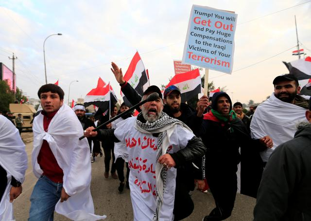 Supporters of Iraqi Shi'ite cleric Moqtada al-Sadr protest against what they say is U.S. presence and violations in Iraq, during a demonstration in Baghdad, Iraq January 24, 2020. REUTERS/Thaier al-Sudani