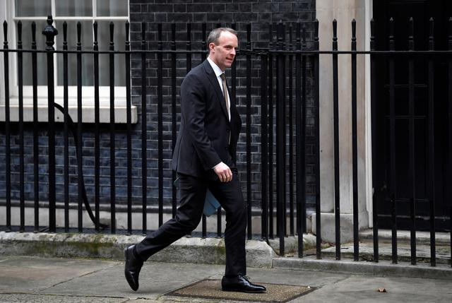 Britain's Foreign Secretary Dominic Raab is seen outside Downing Street in London, Britain, January 23, 2020. REUTERS/Toby Melville