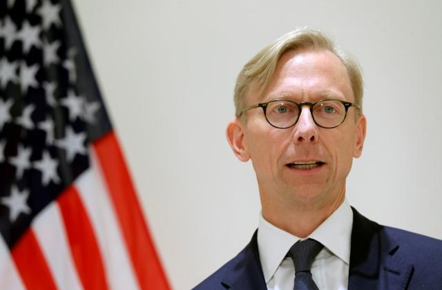 FILE PHOTO: Brian Hook, U.S. Special Representative for Iran, speaks at a news conference in London, Britain June 28, 2019. REUTERS/Simon Dawson/File Photo