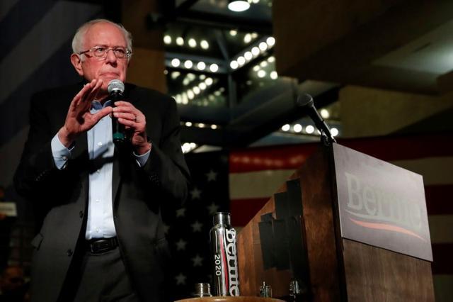 FILE PHOTO: Democratic 2020 U.S. presidential candidate and U.S. Senator Bernie Sanders (I-VT) speaks during a campaign event in Des Moines, Iowa, U.S., January 20, 2020. REUTERS/Shannon Stapleton/File Photo