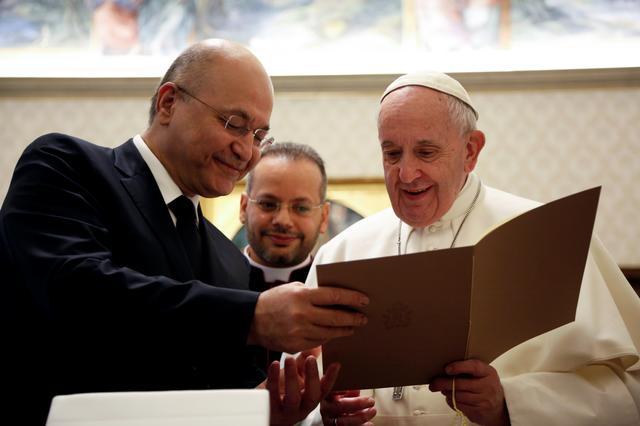 Pope Francis meets Iraqi President Barham Salih at the Vatican, January 25, 2020. Domenico Stinellis/Pool via REUTERS