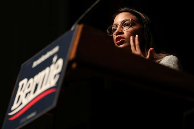 Rep. Alexandria Ocasio-Cortez speaks at a Democratic 2020 U.S. presidential candidate and U.S. Senator Bernie Sanders (I-VT) campaign rally in Ames, Iowa, U.S., January 25, 2020. REUTERS/Ivan Alvarado