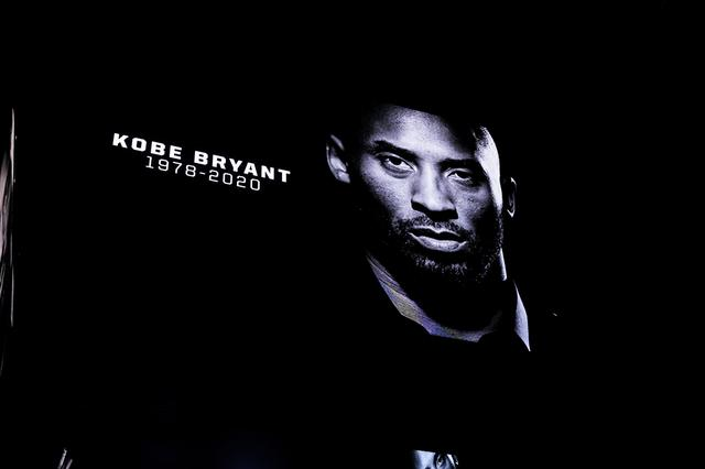 Jan 26, 2020; San Antonio, Texas, USA;  A tribute is shown on the video board during a moment of silence acknowledging Kobe Bryant before the game between the San Antonio Spurs and Toronto Raptors at the AT&T Center. Mandatory Credit: Daniel Dunn-USA TODAY Sports