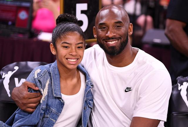 FILE PHOTO: Jul 27, 2019; Las Vegas, NV, USA; Kobe Bryant is pictured with his daughter Gianna at the WNBA All Star Game at Mandalay Bay Events Center. Mandatory Credit: Stephen R. Sylvanie-USA TODAY Sports/File Photo
