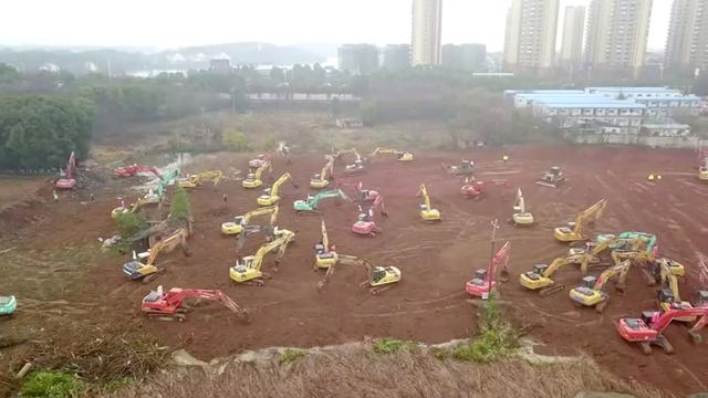 An aerial view shows the construction site of a new hospital dedicated to treating patients with coronavirus, in Wuhan, Hubei province, China January 24, 2020, in this still image taken from video. China News Service/via REUTERS TV