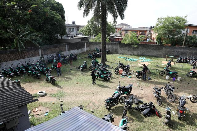 FILE PHOTO: Several bikes are seen parked within the premises of Gokada bike company in Lagos, Nigeria May 3, 2019. Picture taken May 3, 2019. REUTERS/Temilade Adelaja/File Photo