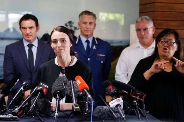 FILE PHOTO: New Zealand's Prime Minister Jacinda Ardern addresses the media in the aftermath of the eruption of White Island volcano, also known by its Maori name Whakaari, at Whakatane, New Zealand December 13, 2019. REUTERS/Jorge Silva