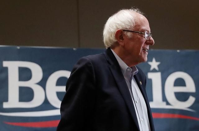 FILE PHOTO: Democratic 2020 U.S. presidential candidate and U.S. Senator Bernie Sanders reacts during a campaign rally in Storm Lake, Iowa, U.S., January 26, 2020. REUTERS/Ivan Alvarado