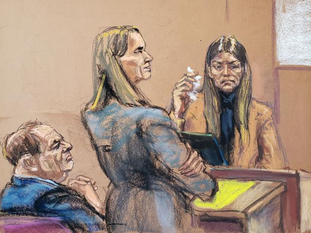 Dawn Dunning is questioned by Assistant District Attorney Meghan Hast during film producer Harvey Weinstein's sexual assault trial at New York Criminal Court in the Manhattan borough of New York City, New York, U.S. January 29, 2020 in this courtroom sketch.  REUTERS/Jane Rosenberg