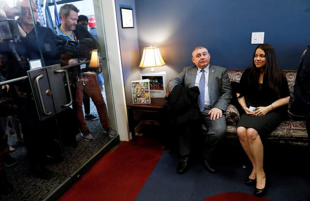 Lev Parnas, the indicted associate of U.S. President Donald Trump's personal lawyer Rudy Giuliani, sits in the waiting room of Senate Minority Leader Chuck Schumer's office while attempting to meet with U.S. Senators and attempting to attend the impeachment trial of President Donald Trump after arriving on Capitol Hill in Washington, U.S., January 29, 2020. REUTERS/Brendan McDermid