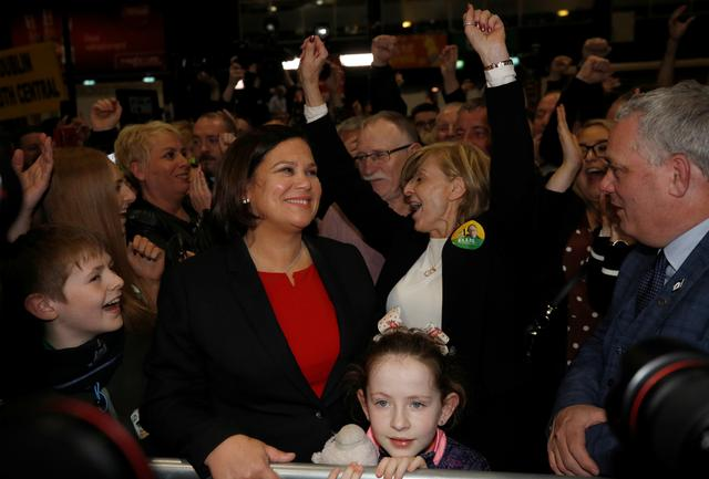 Sinn Fein leader Mary Lou McDonald looks on as supporters cheer at a count centre, during Ireland's national election, in Dublin, Ireland, February 9, 2020. REUTERS/Phil Noble