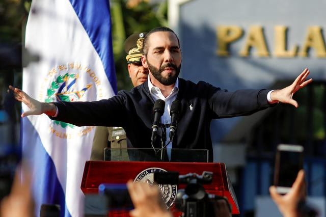Salvadoran President Nayib Bukele gestures as he addresses his supporters protesting outside the national congress to push for the approval of funds for a government security plan in San Salvador, El Salvador February 9, 2020. REUTERS/Jose Cabezas