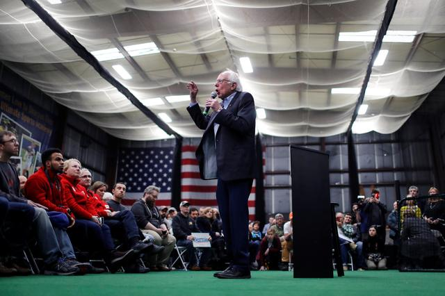 Democratic U.S. presidential candidate Senator Bernie Sanders speaks at a breakfast campaign stop one day before the New Hampshire presidential primary election in Manchester, New Hampshire, U.S., February 10, 2020. REUTERS/Mike Segar