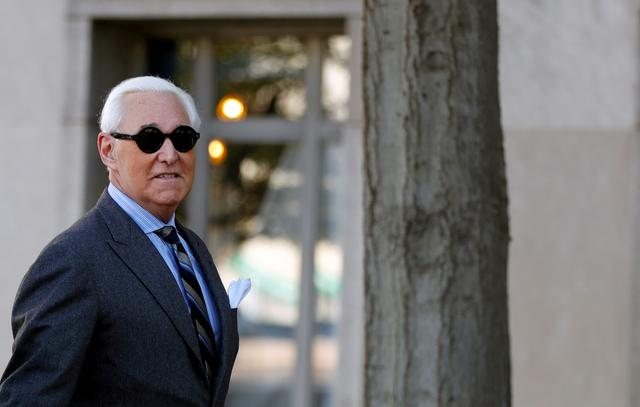 FILE PHOTO: Roger Stone, former campaign adviser to U.S. President Donald Trump, arrives for the continuation of his criminal trial on charges of lying to Congress, obstructing justice and witness tampering at U.S. District Court in Washington, U.S., November 13, 2019. REUTERS/Yara Nardi/File Photo