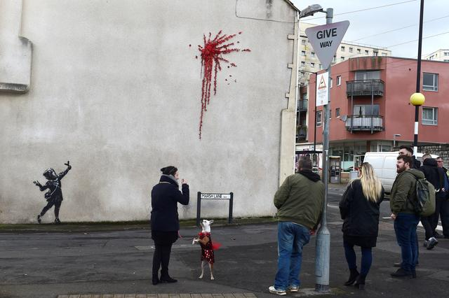 A suspected new mural by artist Banksy is pictured in Marsh Lane in Bristol, Britain, February 13, 2020. REUTERS/Rebecca Naden