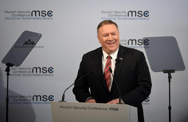 U.S. Secretary of State Mike Pompeo speaks at the annual Munich Security Conference in Germany February 15, 2020. REUTERS/Andreas Gebert