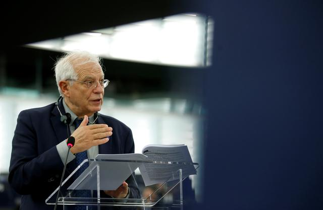 FILE PHOTO: EU foreign policy chief Josep Borrell addresses the European Parliament in Strasbourg, France, February 11, 2020. REUTERS/Vincent Kessler
