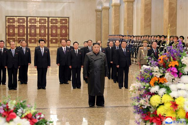 North Korean leader Kim Jong Un visits his father and former leader Kim Jong Il's mausoleum to mark the anniversary of the late leader's birth, in this undated photo released by North Korea's Central News Agency (KCNA) on February 15, 2020. KCNA/via REUTERS